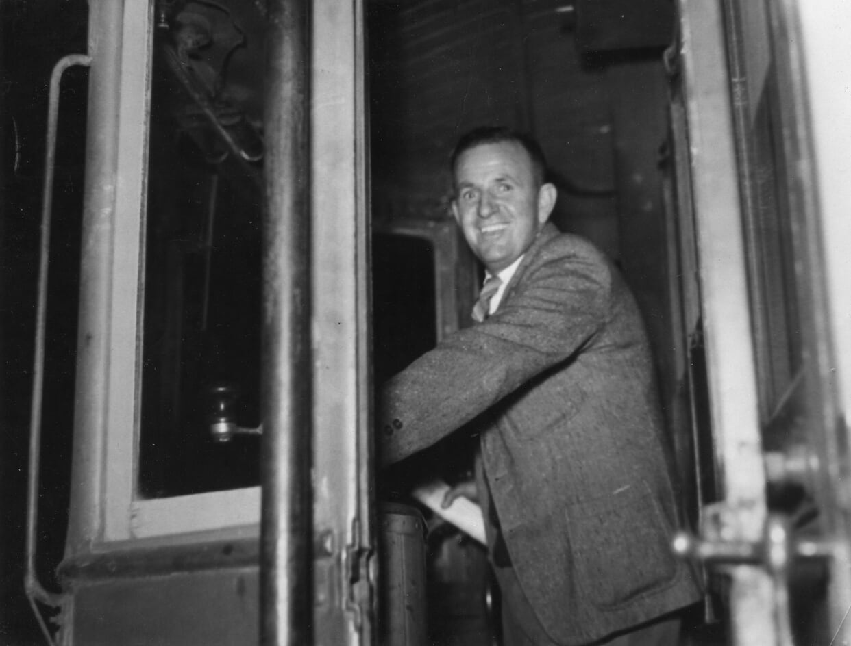 Ken on the last Newcastle tram, 11-6-1950