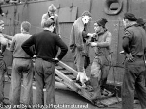 Injured seamen leaving the torpedo-damaged ship Allara in Newcastle Harbour, July 1942.