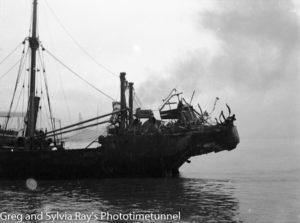 The torpedo-damaged ship Allara in Newcastle Harbour, July 1942. (8)