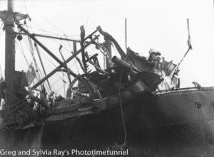 The torpedo-damaged ship Allara in Newcastle Harbour, July 1942. (10)