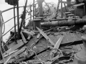 The torpedo-damaged ship Allara in Newcastle Harbour, July 1942. (11)