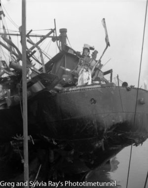 The torpedo-damaged ship Allara in Newcastle Harbour, July 1942. (12)