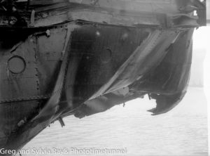 The torpedo-damaged ship Allara in Newcastle Harbour, July 1942. (19)