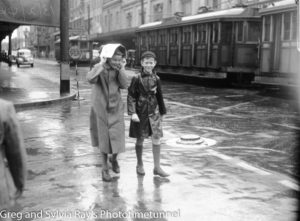 Two boys in Hunter Street on a rainy day, February 13, 1946.
