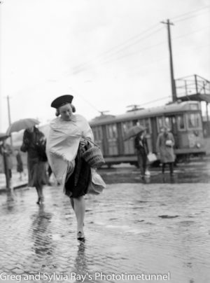 Near the Perkins Street tram stop on Scott Street, March 18, 1939.