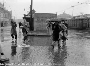 Air raid shelter, Hunter and Scott Streets, Newcastle ,on a rainy day, June 21, 1946.