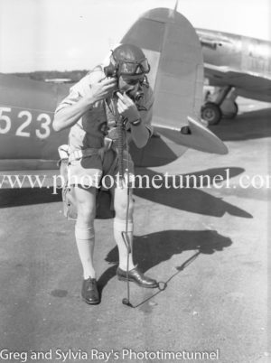 Pilot of a Spitfire fighter at Williamtown RAAF base Newcastle. April 1, 1943.