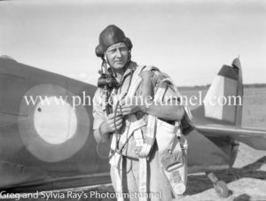 Pilot near Spitfire fighter at Williamtown RAAF base Newcastle. April 1, 1943. (14)