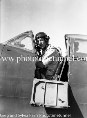 Pilot in the cockpit of a Spitfire fighter at Williamtown RAAF base Newcastle. April 1, 1943.
