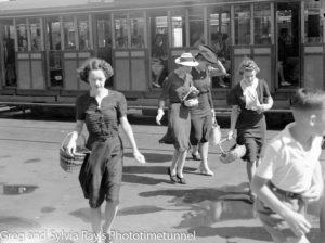 Shoppers alighting from a tram in Scott Street, Newcastle, circa 1940s.