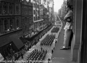 Parade for the return of the AIF's 9th Division in Sydney, April 2, 1943. (10)