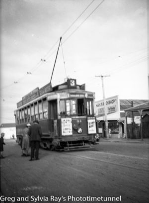 Tram at Wanganui, New Zealand, c1933.