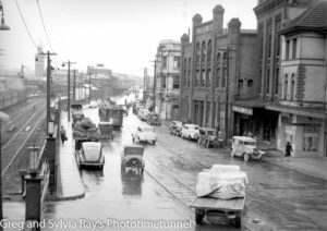 Rainy day in Scott Street Newcastle, NSW, February 14, 1947.
