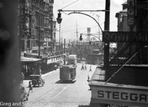 Elevated view of Hunter Street Newcastle, looking west. Circa 1940s.