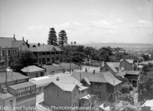 View over part of The Hill, Newcastle, on December 8, 1936, showing St Marys Catholic church at left.