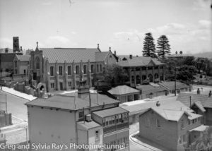 View over part of The Hill, Newcastle, on December 8, 1936, showing St Marys Catholic church at left. (2)