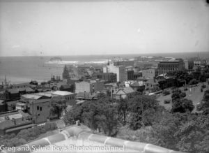 View from Newcastle Christ Church Anglican Cathedral towards Nobbys Headland. December 8, 1936.