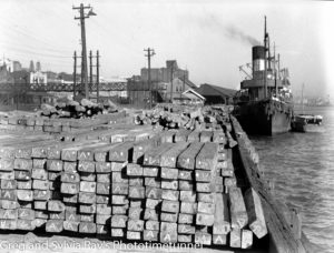 Lumber stacked on Newcastle's timber wharf, 1946.