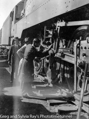 Inspecting a steam locomotive