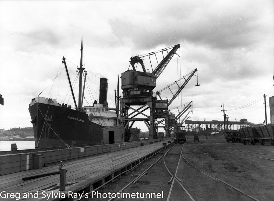 Ship Capitaine Illiaquer at Newcastle's coal cranes during a loading hold-up on August 21, 1949.