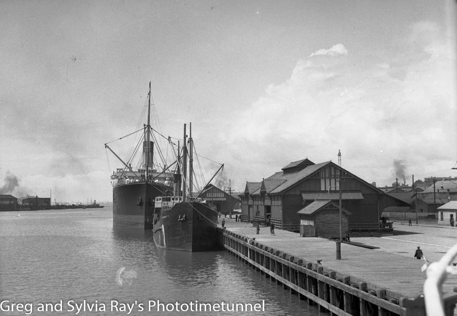 The ship Broadway, and another larger ship at Lee Wharf, Newcastle Harbour, October 1935.