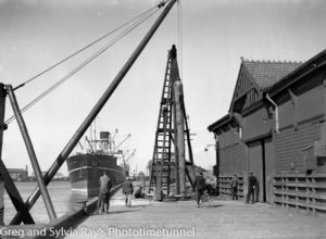 Ship Royal Star in Newcastle Harbour, September 16, 1936. Workers are replacing a timber pier.