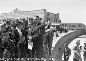 Lord Mayor Fenton at the opening of the Young Mariners Pool, Newcastle, NSW, September 25, 1937.