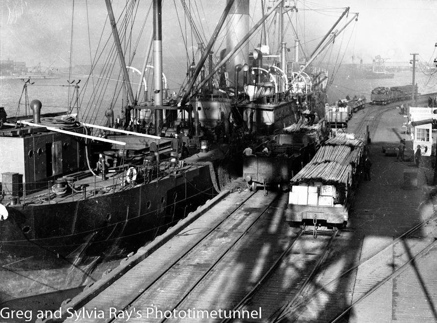 Newcastle's BHP steelworks wharf, circa 1930s.