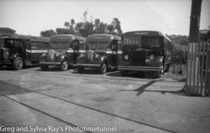 Buses at the Kelburn cable car station, Wellington, New Zealand.
