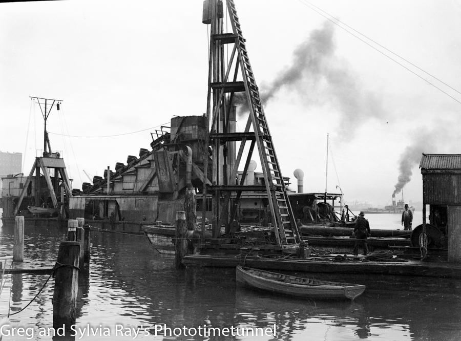 An old bucket dredge on Newcastle Harbour, May 20, 1947.