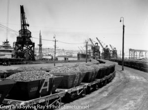 Railway coal trucks loaded with coke for Tasmania. Newcastle Harbour, January 22, 1948.