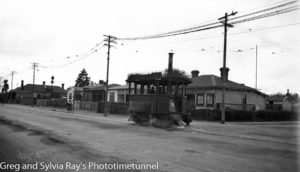 Kitson-type steam tram motor in Christchurch, New Zealand, 1933.