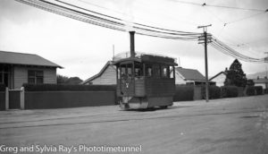 Steam tram motor in Christchurch, New Zealand.