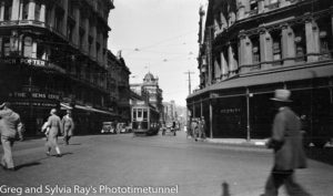 Tram in Manners Street, Wellington, New Zealand, c1933.