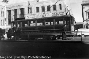 Tram at Invercargill, New Zealand, c1934.