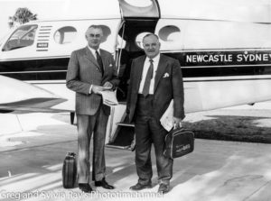 Labor Member for Hunter Bert James with Gough Whitlam in front of an Aeropelican aircraft. Date unknown.