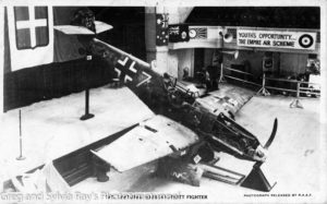 Captured German Messerschmitt 109e fighter. Plane was exhibited in various places around Australia to raise money for war bonds.
