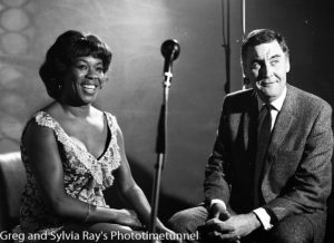 American jazz singer Sarah Vaughan being interviewed by Australian television identity Ray Taylor in Sydney, May 18, 1965. (2)