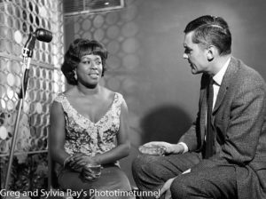 American jazz singer Sarah Vaughan being interviewed by Australian television identity Ray Taylor in Sydney, May 18, 1965. (3)