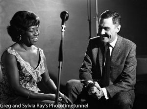 American jazz singer Sarah Vaughan being interviewed by Australian television identity Ray Taylor in Sydney, May 18, 1965. (4)