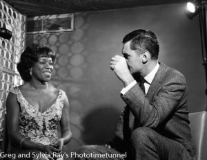 American jazz singer Sarah Vaughan being interviewed by Australian television identity Ray Taylor in Sydney, May 18, 1965. (5)