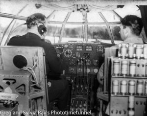 Cockpit of a Short Sunderland flying boat, photographed near Newcastle during World War 2.