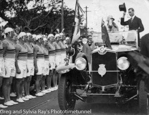 The Duke of York passing Newcastle life savers in 1927.