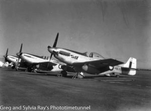First three Mustang fighter aircraft to arrive at Williamtown RAAF base, Newcastle, during World War 2.