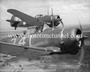 Australian-built Wirraway aircraft photographed over the Newcastle area during World War 2. (3)