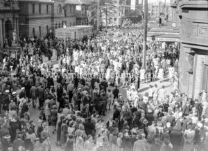 Celebrations in Newcastle, NSW, for the end of World War 2, August 15, 1945. Outside Newcastle Post office. (2)