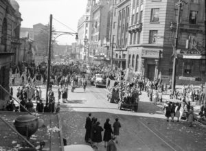 Corner of Hunter and Bolton Streets, Newcastle, NSW, at the end of World War 2, August 15, 1945.
