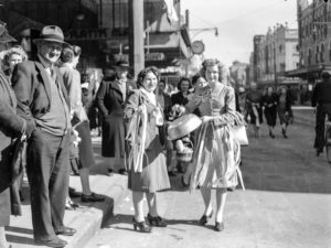 Glad faces: celebrations in Newcastle, NSW, for the end of World War 2, August 15, 1945.