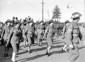 Servicewomen marching in Newcastle, NSW, at the end of World War 2, August 15, 1945.