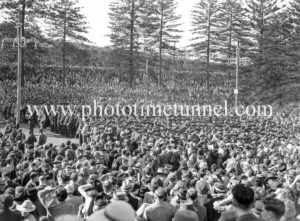 Huge crowd in King Edward Park. Celebrations in Newcastle, NSW, for the end of World War 2, August 15, 1945.